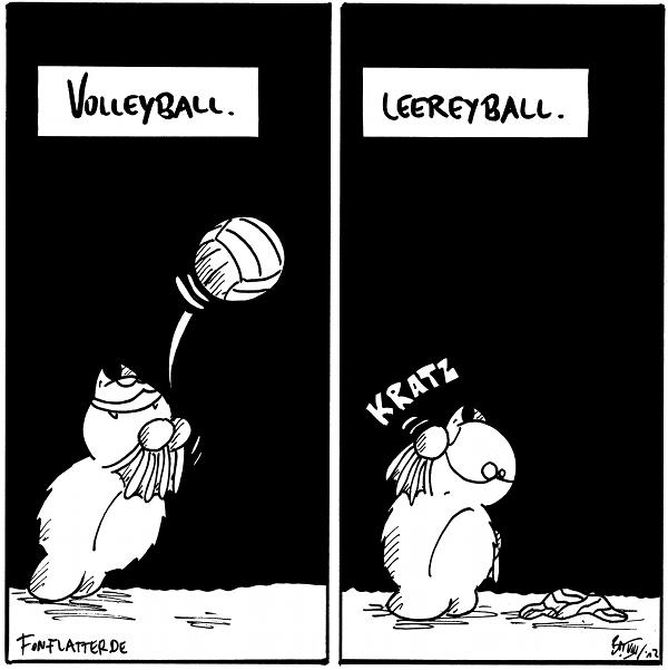 Fred [[mit einem Volleyball]] Volleyball  Fred [[kratzt sich, aufd dem Boden ein geplatzter Ball]] Leereyball  {{Gibt es eigentlich Leeridioten?}}