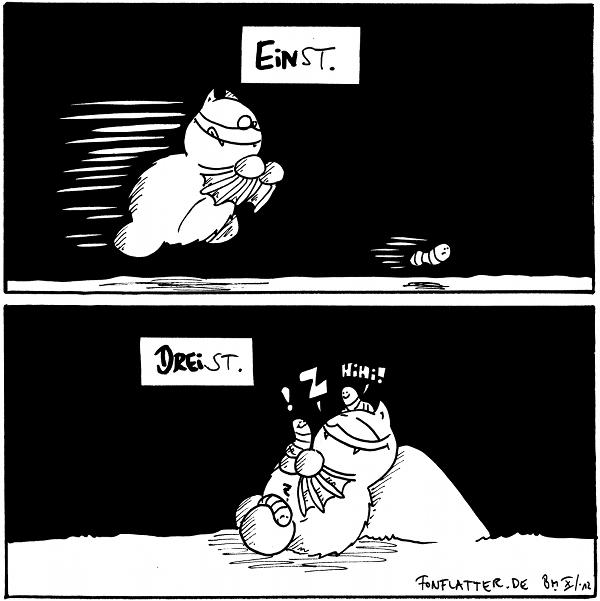 Fred [[versucht Wurm als Beute zu fangen]] Wurm [[flüchtet]] 'Einst.'  Fred [[liegt an einem Stein und schläft.]]: Z Wurm 1 [[sitzt auf Fred's Kopf]]: Hihi! Wurm 2 [[sitzt aufs Fred Hände]]: ! Wurm 3 [[sitzt auf Freds Fuß]]: ? 'Dreist.'  {{Skandal: wenn Fred schläft, klauen die Würmer ihm manchmal seinen Schlafstein und ersetzen ihn durch ein identisches Exemplar!]]