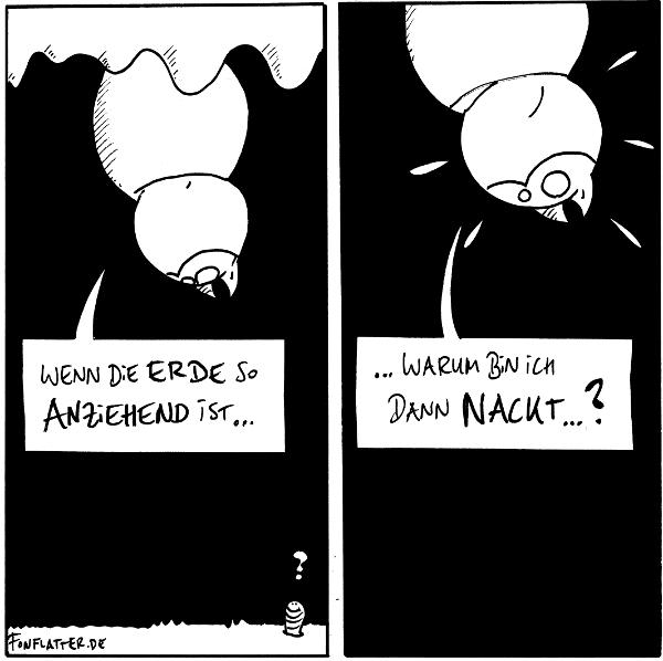 Fred [[hängt in seiner Höhle an der Decke]]: Wenn die Erde so anziehend ist... Wurm:?  Fred: ...warum bin ich dann nackt...?  {{RD. NT. SN. ZL. IDJ.}}