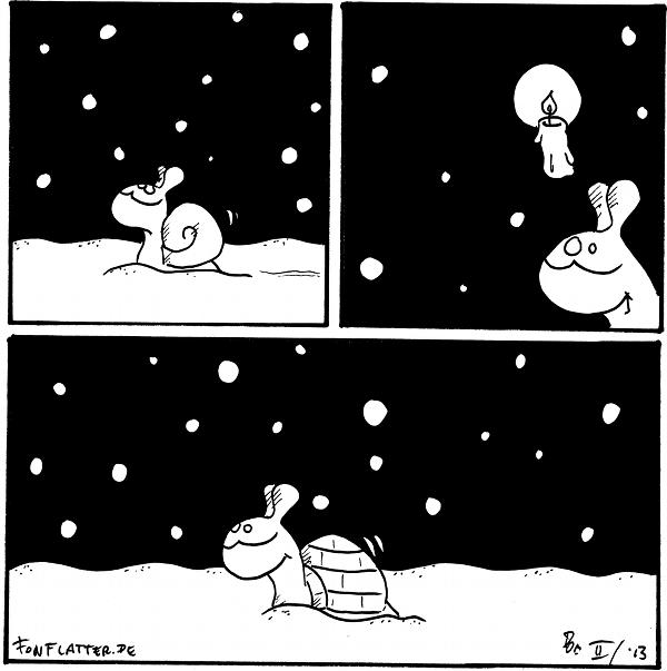 Schnecke [[schiebt sich durch den Schnee]]  Schnecke [[hat eine Idee]]  Schnecke [[hat ein Iglu als Schneckenhaus]]  {{'des Schnees' ist übrigens der zweite Schneefall.}}