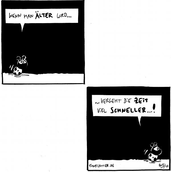 Käfer: Wenn man älter wird...  [[es fehlen zwei Panele]]  Käfer: ...vergeht die Zeit viel schneller...!  {{Comiczeichner werden mit zunehmenden Alter offensichtlich auch fauler.}}
