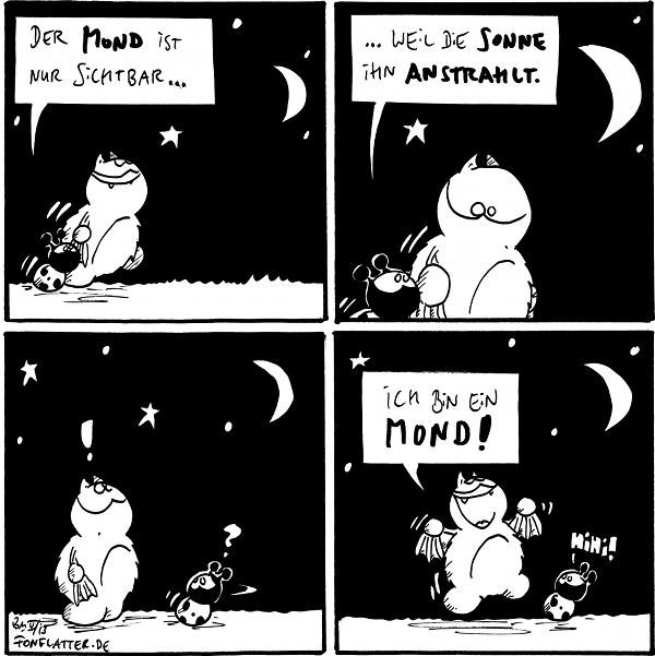 Fred [[schaut zum Halbmond am Sternenhimmel]] Käfer [[läuft neben ihm]]: Der Mond ist nur sichtbar...  Fred [[schaut fragend zu Käfer]] Käfer: ...weil die Sonne ihn anstrahlt.  Fred [[schaut zum Mond]]: ! Käfer: ?  Fred [[freudestrahlend]]: Ich bin ein Mond! Käfer: Hihi!  {{Vollmond, natürlich.}}