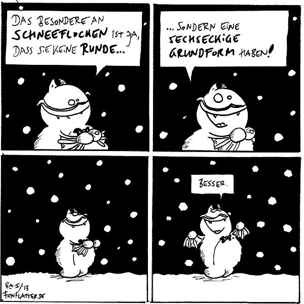Professor-Fred: Das besondere an schneeflocken ist ja, dass keine runde...  Professor-Fred: ...sondenr eine sechseckige Grundform haben!  Professor-Fred [[schaut hoch zu den runden Schneeflocken]]  Professor-Fred [[schaut hoch sechseckigen Schneeflocken]]: Besser.  {{Deswegen hat das Wort 'Flocke' auch sechs Buchstaben.}}