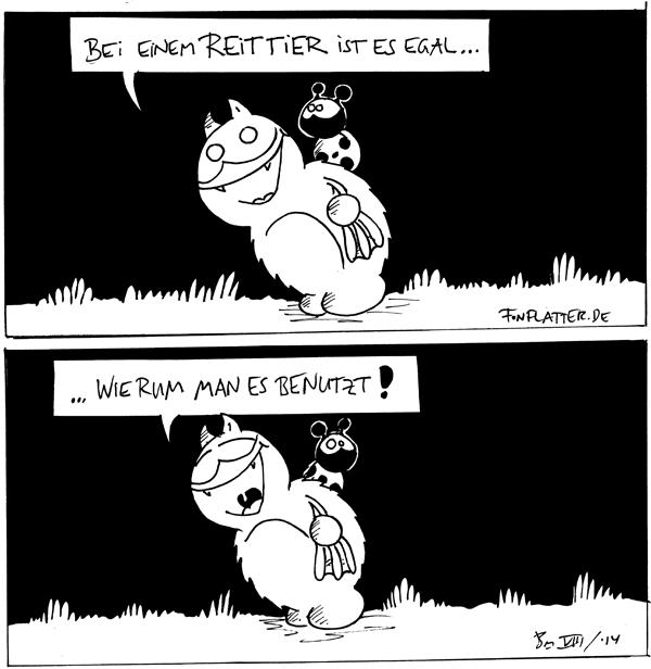 Fred [[trägt Käfer auf dem Rücken]]: Bei einem Reittier ist es egal... Käfer [[sitzt vorwärts]]  Fred: ...wierum man es benutzt! Käfer [[sitzt rückwärts]]  {{derFred}}