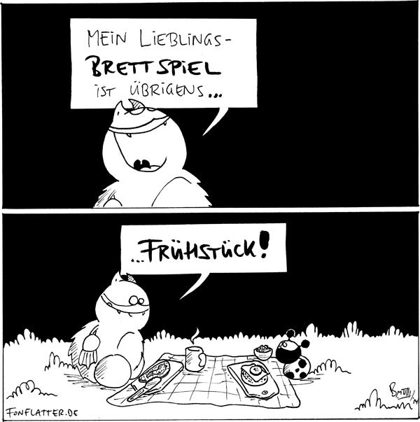 Fred: Mein Lieblingsbrettspiel ist übrigens...  Fred [[sitzt vor einer gedeckten Picknickdecke]] ...Frühstück! Käfer [[sitzt Fred gegenüber]]  {{Fredspiel}}