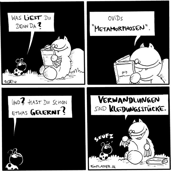 """Fred [[sitzt ein Buch lesend am Stein]] Käfer: Was liest du denn da?  Fred: Ovids """"Metamorphosen"""".  Käfer: Und? Hast du schon etwas gelernt?  Fred [[legt das Buch zur Seite]]: Verwandlungen sind Kleidungsstücke. Käfer: seufz  {{Klempner sind Meister der Dichtkunst.}}"""