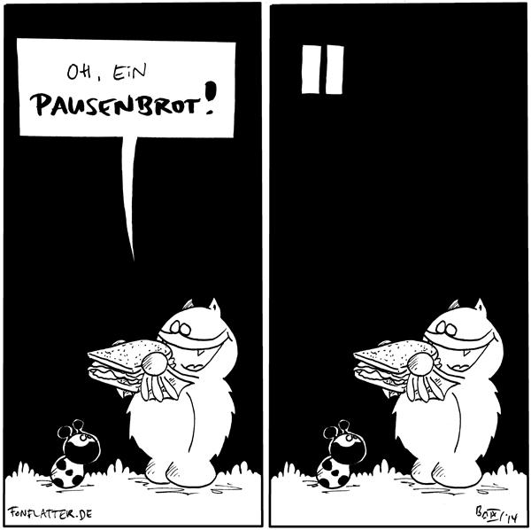 Fred [[hält ein dickes Sandwich]]: Oh, ein Pausenbrot! Käfer [[schaut zu Fred hoch]]  Panel [[gleiches Bild, mit Pausenzeichen oben links]]  {{Bblau. Bgelb.}}