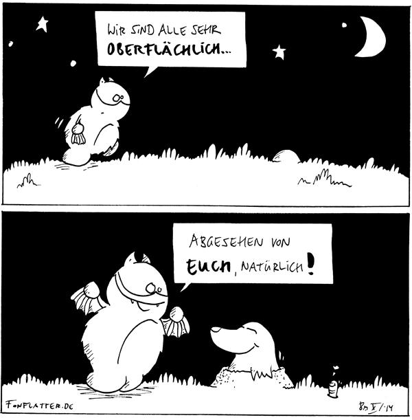 Fred [[läuft unterm Sternenhimmel über die Wiese]]: Wir sind alle sehr oberflächlich...  Fred [[freut sich]]: Abgesehen von Euch natürlich! Maulwurf [[schaut aus seinem Hügel]] Wurm [[schaut aus dem Boden]]: <3  {{Ist Maulwurf unterwürfig?}}