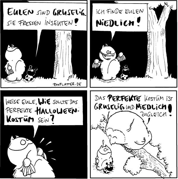 Fred [[schaut einen Baum hoch]] Käfer: Eulen sind gruselig. Sie fressen Insekten!  Fred: Ich finde eulen niedlich! Käfer [[schaut den Baum hoch]]  Fred [[ruft nach oben]]: Weise Eule, wie sollte das perfekte Halloweenkostüm sein?  Eule [[schaut von oben auf Fred und Käfer / in weiss gezeichnet]]: Das perfekte Kostüm ist gruselig und niedlich zugleich!  {{Man munkelt ja, dass auch Fledermäuse Insekten vertilgen würden. Ähem.}}