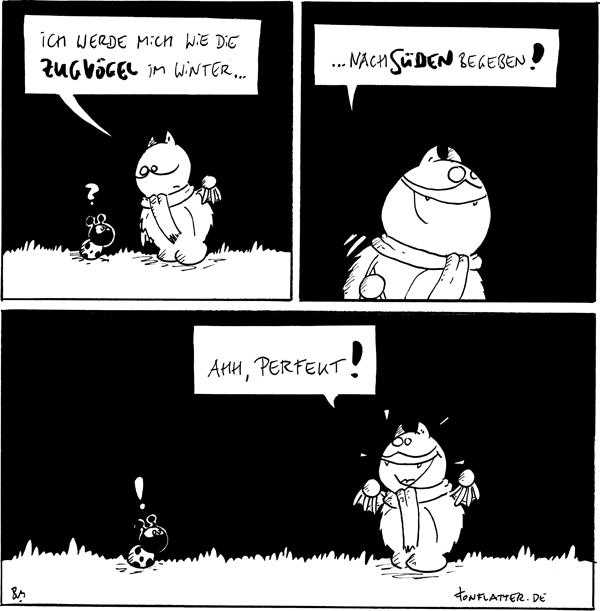 Fred [[mit Schal zu Käfer]]: Ich werde mich wie die Zugvögel im Winter... Käfer: ?  Fred [[geht nach rechts]]: ...nach Süden begeben!  Fred [[ein Stück weiter rechts]]: Ahh, perfekt! Käfer [[am alten Standort]]: !  {{Bitte den Comic in die korrekte Himmelsrichtung drehen.}}