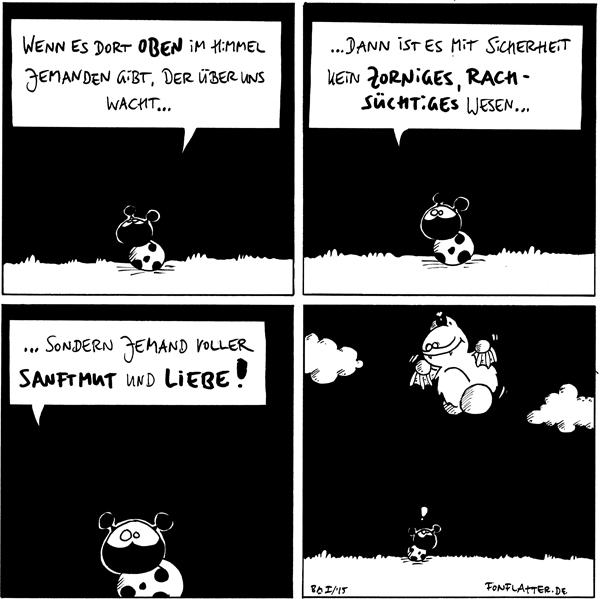 Käfer [[auf der Wiese und schaut nach oben]]: Wenn es dort oben im Himmel jemanden gibt, der über uns wacht...  Käfer: ...dann ist es mit Sicherheit kein zorniges, rachsüchtiges Wesen...  Käfer: ...sondern jemand vollerSanftmut und Liebe!  Käfer [[schaut wieder nach oben]]: ! Fred [[flattert über Käfer in den Wolken]]  {{Und voller Kekse.}}